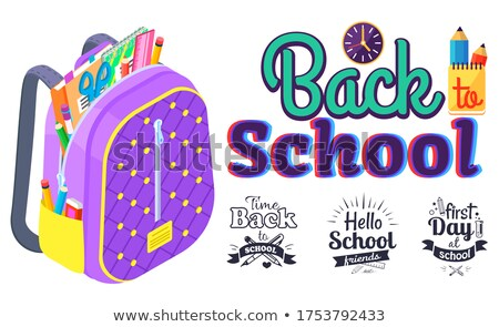 Back to school color hand drawn quote class icons Stock photo © cienpies
