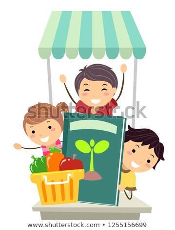 Stickman Kids Learning Give Away Illustration Stock photo © lenm