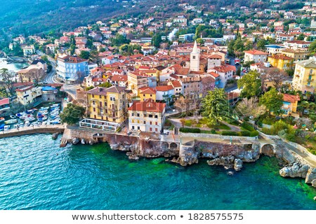 Town of Lovran and Lungomare sea walkway aerial panoramic view Stock photo © xbrchx
