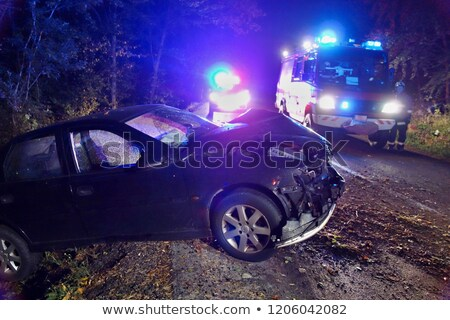 Old wrecked car crashed in the forest Stock photo © tilo