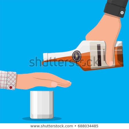 Hand Rejecting Glass Of Whiskey Offered By Person Stock photo © AndreyPopov