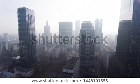 Foggy morning above city district. Stock photo © artjazz