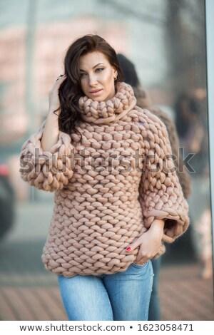 Cute femme Nice chaud vêtements Photo stock © ElenaBatkova