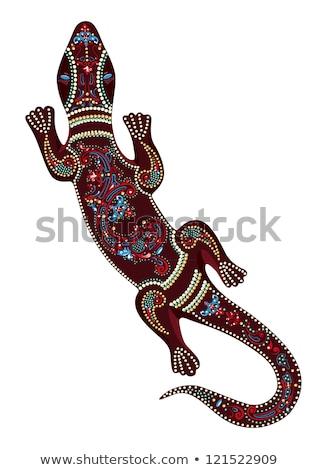 Kertenkele yerli sanat stil vektör renk Stok fotoğraf © ColorHaze