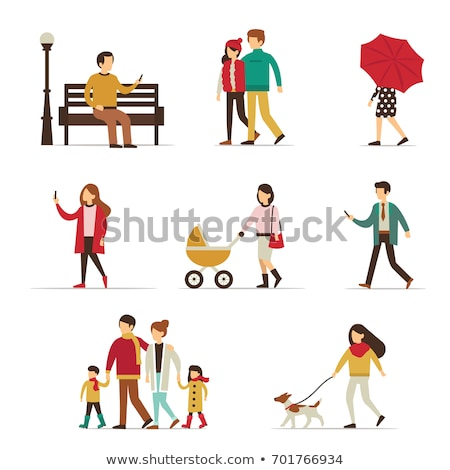 Couple Walk with Dog in Park, Lady with Umbrella Stock photo © robuart