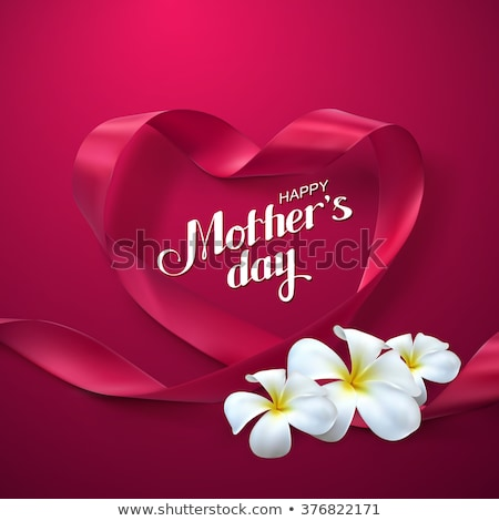 Happy Mother's Day Greeting card design with flower and typography letter on pink background. Vector Stock photo © articular