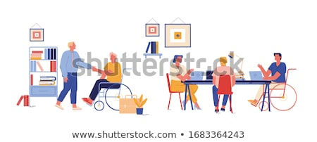 Handicapped Man and Woman Working in Office Vector Stock photo © robuart