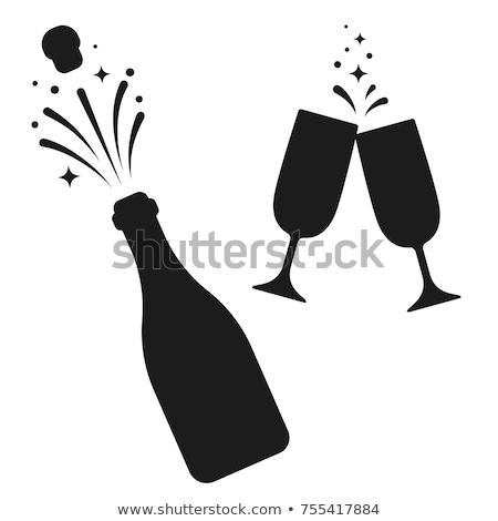 Champagne bouteille félicitations ouverture mot liquide Photo stock © albund