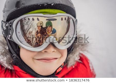 Moeder jongen vader leren ski Stockfoto © galitskaya