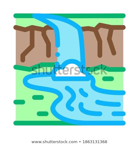 Akım nehir köprü ikon vektör Stok fotoğraf © pikepicture
