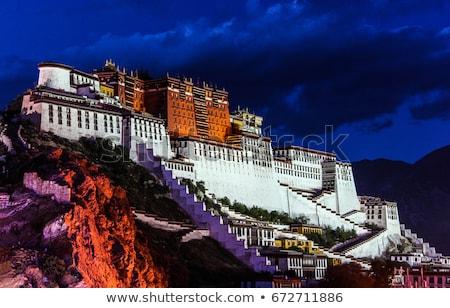 Foto stock: Noite · palácio · famoso · tibete · espelho · água