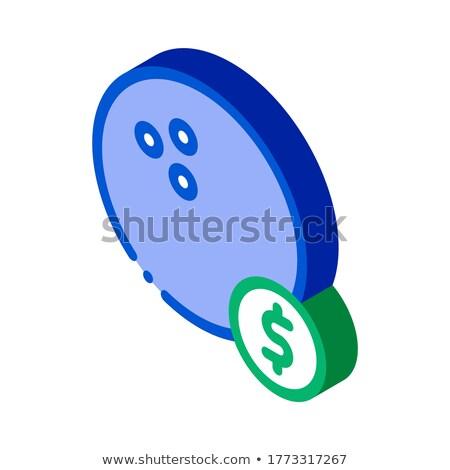 Шар для боулинга монеты изометрический икона вектора знак Сток-фото © pikepicture