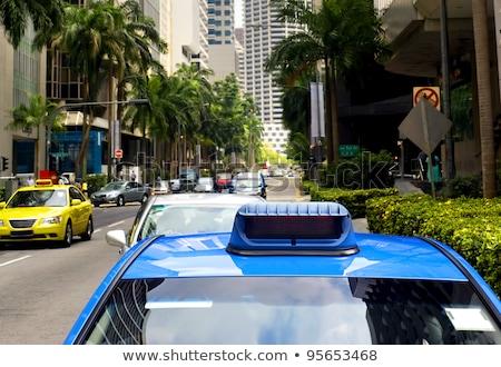 Singapur taksi merkezi mavi araba gökyüzü Stok fotoğraf © joyr