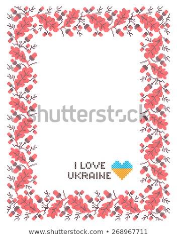 folk Rectangular Frame Cross-stitch on black stock photo © tottoro