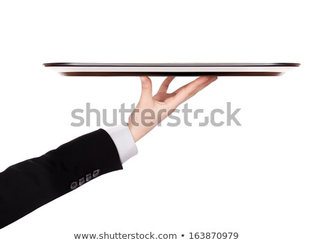 Pincér szolgáló tart fehér tányér teljes alakos Stock fotó © lovleah
