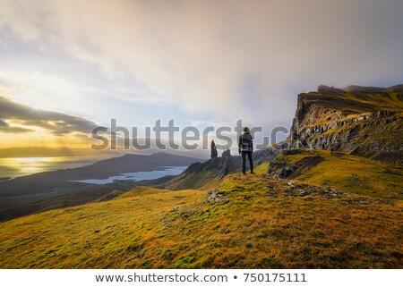 man hiking on the isle of skye in scotland stock photo © hofmeester