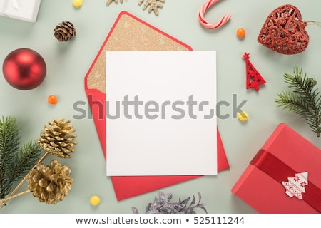 Stok fotoğraf: Envelope Letter And Red Paper Merry
