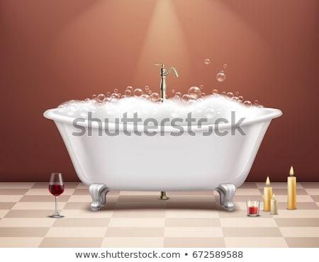 Vasca da bagno schiuma simbolico pulizia lavaggio blu Foto d'archivio © prill