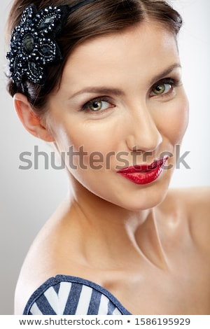 Closeup portrait of young beautiful caucasian woman with red hai Stock photo © HASLOO