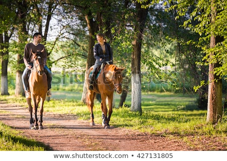 young couple and horses in forest Stock photo © photography33