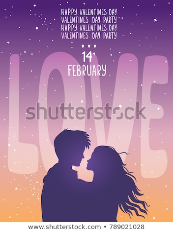 couple silhouette with heart lights Stock photo © illustrart