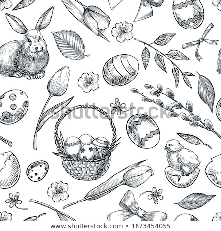 patterned bunnies birds and eggs stock photo © marish