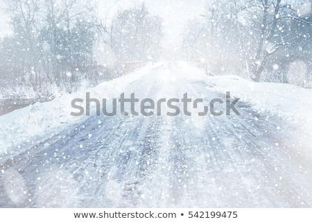 Hóvihar kék horizont hó háttér tél Stock fotó © mblach