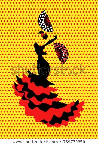 Spanyolország · flamenco · nő · izolált · virág · lány - stock fotó © carodi