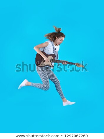 jumping bass guitar woman Stock photo © prill
