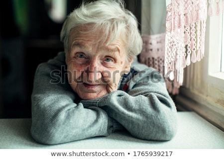 portret · oude · vrouw · jaren · oude · boer · vrouw - stockfoto © courtyardpix