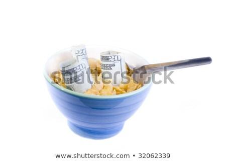 ontbijt · zemelen · granen · groene · kom · sinaasappelsap - stockfoto © bobbigmac