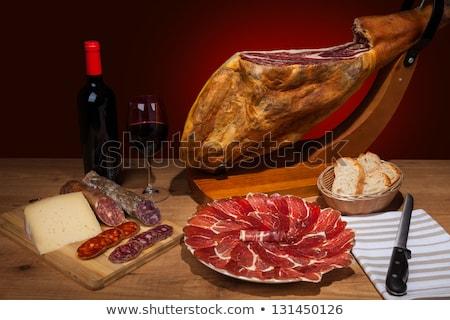 ストックフォト: ワイン · セラーノ · ハム · パン · ドリンク · ボトル