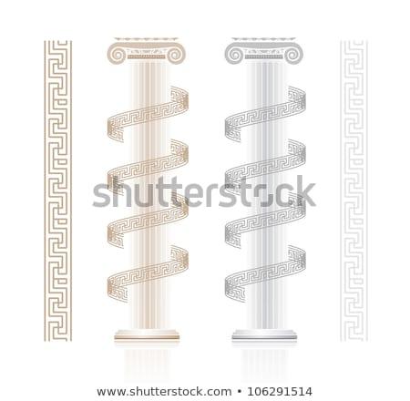Ionic Column with Greek key pattern Stock photo © m_pavlov