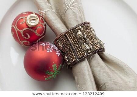 エレガントな · クリスマス · 表 · 赤 · 飾り · 眼鏡 - ストックフォト © klsbear