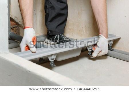építőmunkás csapdába esett doboz képzeletbeli egészalakos izolált Stock fotó © lisafx
