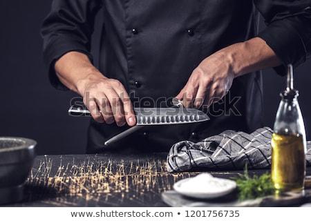 Fiatalember kés munka kereszt póló személy Stock fotó © photography33