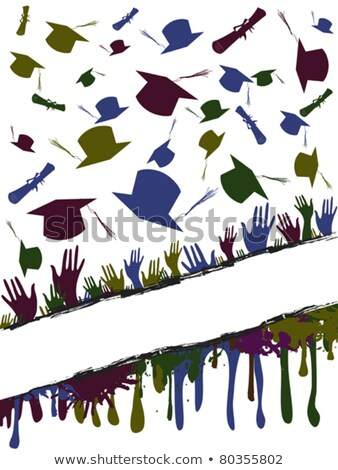 Grunge background illustration of a group of graduates tossing Stock photo © huhulin