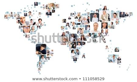 Мир карта люди икона разнообразия связи изолированный Сток-фото © cienpies