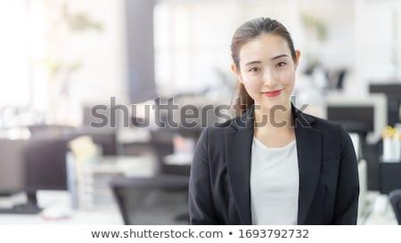 Mulher atraente ao ar livre mulher sensual terno sorridente Foto stock © markhayes