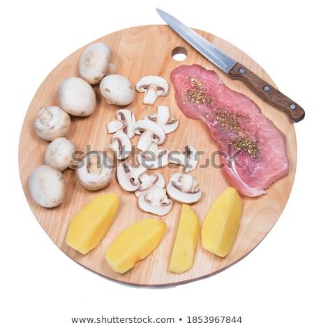 Champignon patates gıda et yemek Stok fotoğraf © ozaiachin