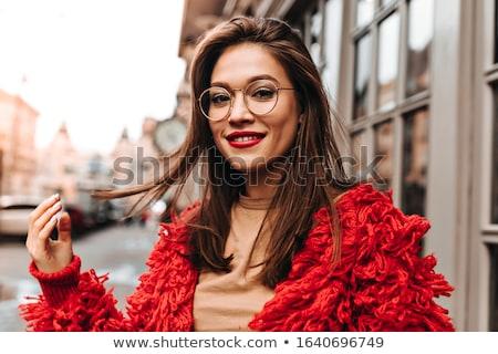 Belo morena cabelo castanho tocante lábios vermelhos sensual Foto stock © wavebreak_media