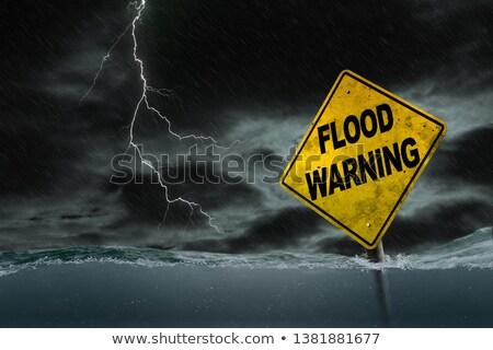 overstroming · illustratie · weg · verkeersbord · waarschuwing - stockfoto © lightsource
