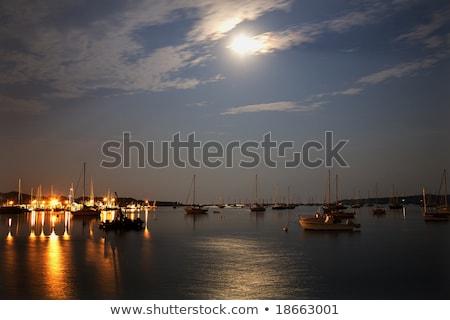 Haven Massachusetts maanlicht nacht zeilboten oceaan Stockfoto © billperry