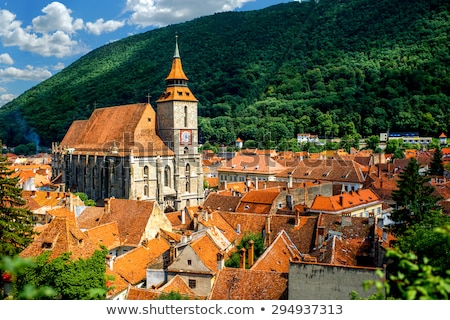 Ciudad Rumania vista casa forestales iglesia Foto stock © dinozzaver