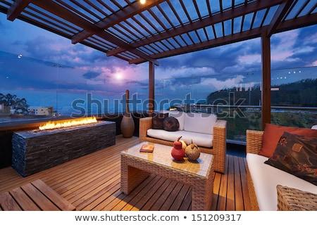 stoelen · tropische · tuin · terras · tabel · huis - stockfoto © dacasdo