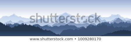 Hegyek erdő kék felhős égbolt tájkép Stock fotó © vadimmmus
