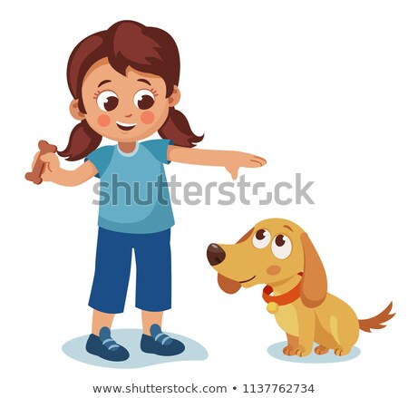 child with pet puppy dog Stock photo © godfer