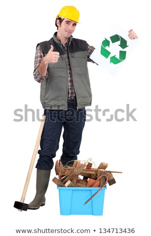 Construction worker with recycling poster Stock photo © photography33