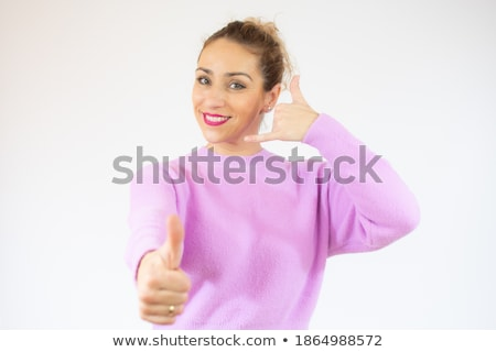 casual woman points at you while on the phone Stock photo © feedough