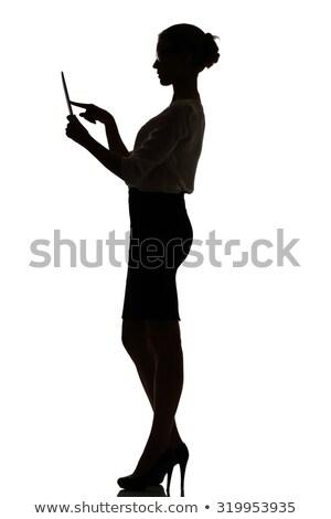 nő · tart · tabletta · egészalakos · lövés · csinos - stock fotó © 805promo